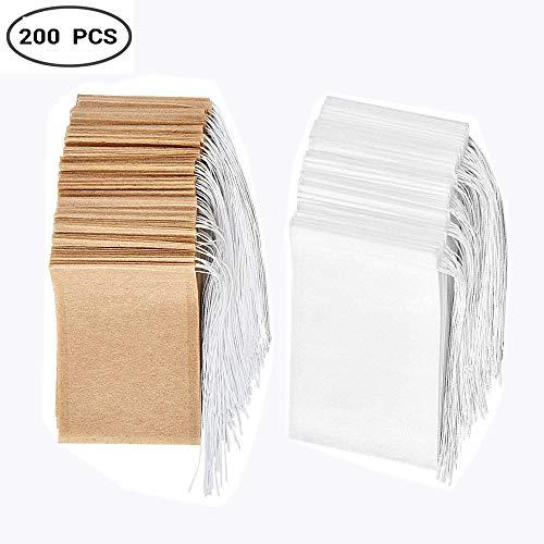 Sacchetti filtro per tè usa e getta Set di 200, Bustina di tè in carta monouso con coulisse in materiale sicuro e naturale, bustina di tè vuota