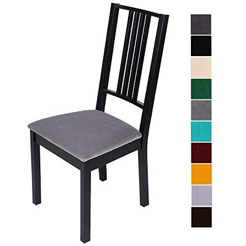 Homaxy Stuhlbezug Sitzfläche Samt Weich Sitzbezug Stuhl Stretch-sitzbezüge für Esszimmerstühle Abwaschbar Schonbezug Hussen für Stühle- 6er Set, Silbergrau