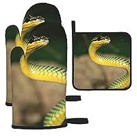 緑と黄色のヘビ 鍋つかみ 耐熱ミトン 熱ミトン オーブンミトン オーブングローブ キッチンミトン キッチン手袋 耐熱 耐久性 電子レンジ 鍋敷き BBQ クッキング用