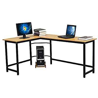 L-Shaped Desktop Computer Desk Beech Wood Color...