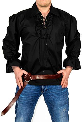 Foxxeo Piratenhemd Herren schwarz Rüschenhemd Mittelalter Hemd Karneval Fasching Größe XL