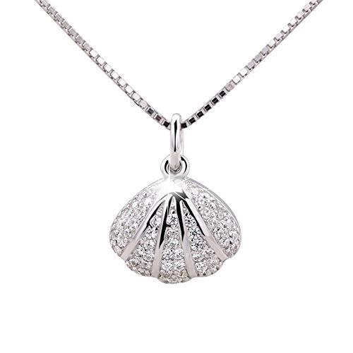 Hiqmic WK99038 - Collar con Colgante de Perla y circonita, Plata de Ley 925, 40 cm - 18 Pulgadas