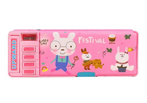 Moonlove - Estuche de lápices de gran capacidad transformable con sacapuntas para la escuela primaria, estudiantes, dibujos animados, caja de lápices de plástico para niños y niñas, color rosa