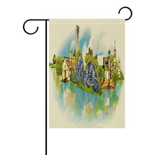 Shinesnow Arbre et ciel bleu Garden Yard Drapeau, Watercolor Belo Horizonte City drapeaux de décoration Intérieur ou extérieur pour maison de ferme Banderole murale 30,5 x 45,7 cm, Tissu, multicolore, 28x40 inch
