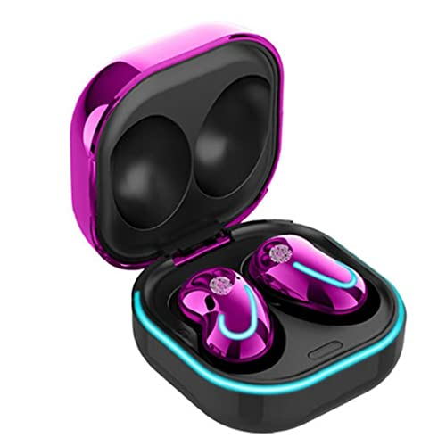 nJiaMe Auriculares Bluetooth 5.1 inalámbrico Auriculares Manos Libres Auricular Portable Impermeable con Estuche Cargador para el teléfono púrpura