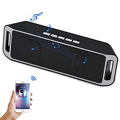 Denash Portable Bluetooth Speaker for Smartphone, Wireless Bass Stereo Subwoofer Speaker, Build-in Microphone, FM Radio, Hands-free Call, Support TF Card/AUX/USB(Black + Gray) from Denash
