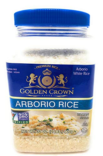 Golden White Arborio Rice - Daily Digestive Support Supplement Gluten Free GMO Free Vegan Naturally Fragrant Flavorful Medium Grain Rice for Vegetarian Daily Meals - 32 oz (2 Lbs)