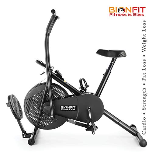 BIONFIT ON03M Indoor Air Bike Exercise Cycle with Dual Moving Arms for Home Gym Cardio Full Body Weight Loss Workout with Twister Plate - Pre Installation