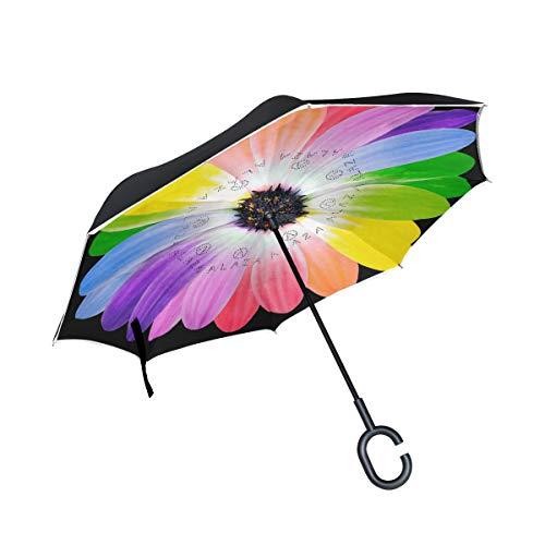 isaoa Große Schirm Regenschirm Winddicht Doppelschichtige seitenverkehrt Faltbarer Regenschirm für Auto Regen Außeneinsatz,C-förmigem Henkel Regenschirm Blume Daisy...