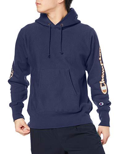[チャンピオン] パーカー トレーナー 裏起毛 長袖 11.5oz スクリプトロゴサテンアップリケ リバースウィーブ フーデッドスウェットシャツ C3-S107 メンズ ダークネイビー L