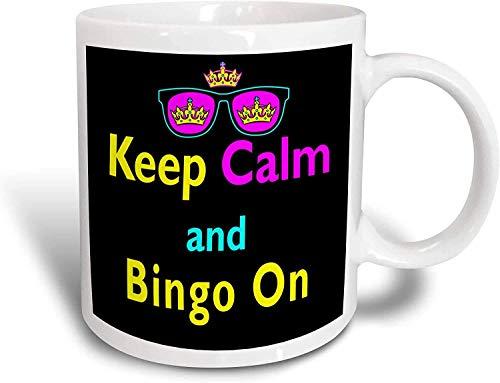N\A Mug_116548_2 CMYK Keep Calm Parody Hipster Corona y Gafas de Sol Keep Calm and Bingo en Taza de cerámica, 15 onzas
