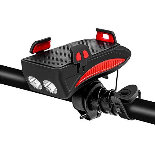 LuckyXX - Luz para bicicleta 4 en 1, con 4000 mAh, gran capacidad, tres modos de iluminación de bicicleta (luz roja)