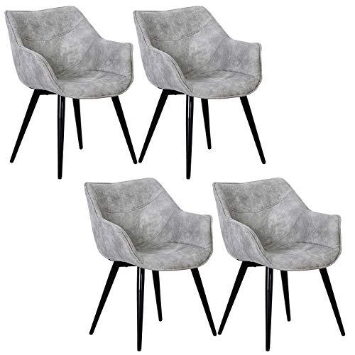 WOLTU 4 x Esszimmerstühle 4er Set Esszimmerstuhl Küchenstuhl Polsterstuhl Design Stuhl mit Armlehne, mit Sitzfläche aus Stoffbezug, Gestell aus Metall, Antiklederoptik, Anthrazit, BH99hgr-4