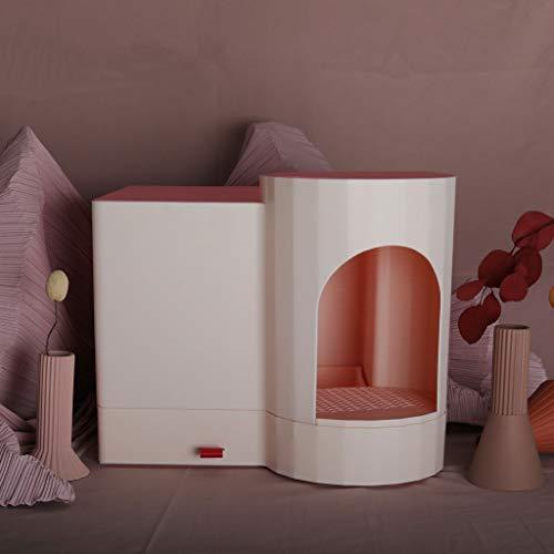 Valpkrukan Creative Large Litter Box, helt sluten låda typ katt toalett, anti-stänk katt kull trä korn form katt kull pan (rosa) Sällskapsdjur toalett