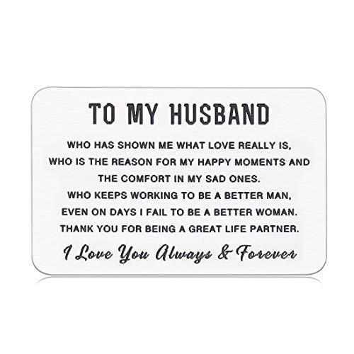 Husband Hubby Valentines Giftss Wedding Anniversary Engraved Wallet Insert Card for Him from Her Boyfriend Fiancee Birthday Engagement Honeymoon Mini Love Note Present for Men Groom Bride