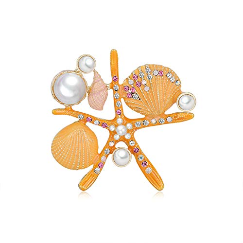 Broche para mujer, diseño vintage, color naranja