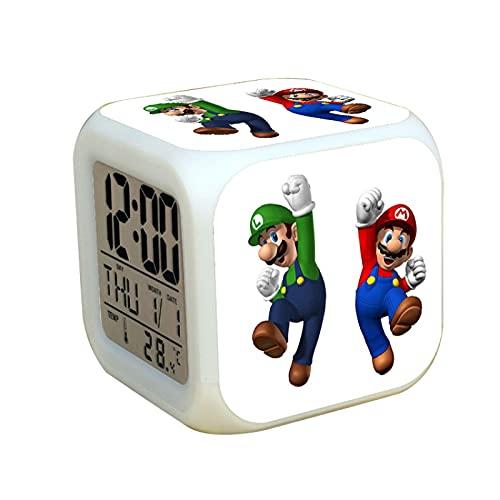 Super Mary Reloj despertador Super Mario Brothers colorido reloj de pulsera para niños