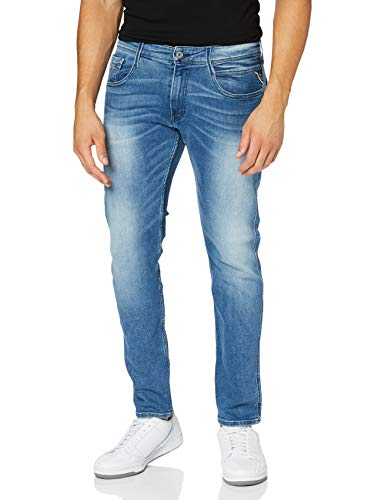 Replay Herren Anbass Jeans, Blue Denim, W33 / L32