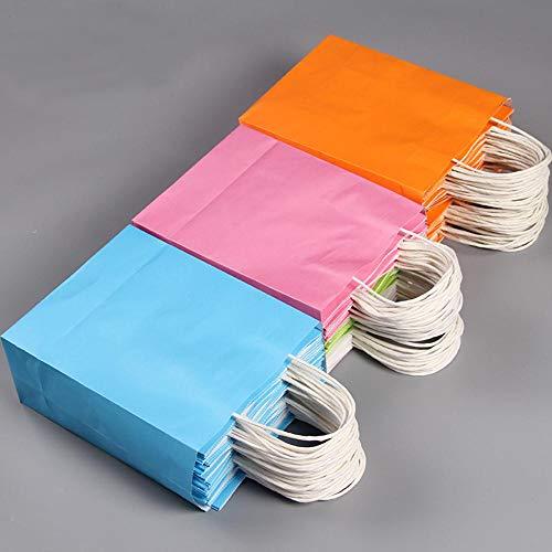 Piner 20 stks/partij kraftpapier geschenkzak festival geschenkzakken papieren zak met handvatten, logo print tweezijdig, 21x27x11cm