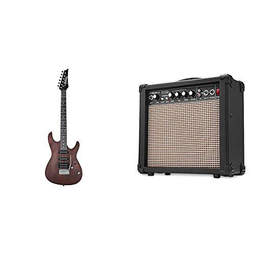 Ibanez GIO SA Series GSA60-WNF Chitarra elettrica Noce piatta & Rocktile Scream-15 Amplificatore per Chitarra, Ingresso AUX (6,5 mm), Uscita Cuffie (6,5 mm), Nero