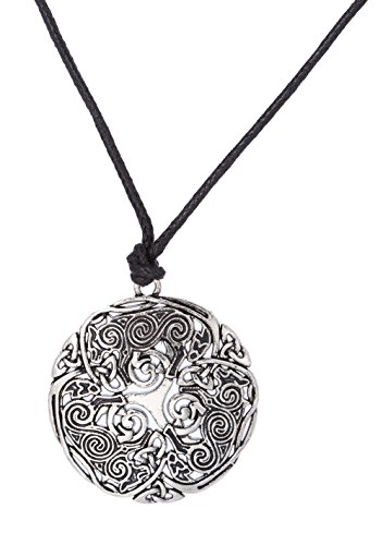 Dawapara - Collar con colgante vintage de lobo celta, diseño de trisquele, amuleto energético, para hombres y mujeres