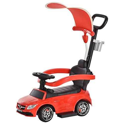 HOMCOM Correpasillo para Niños Mayores de 1 Año Cochecito Automóvil Diseño 3 en 1 Empujador Andador Función de Bocina con Capota Reposapiés Portavasos 84x40x83 cm Rojo