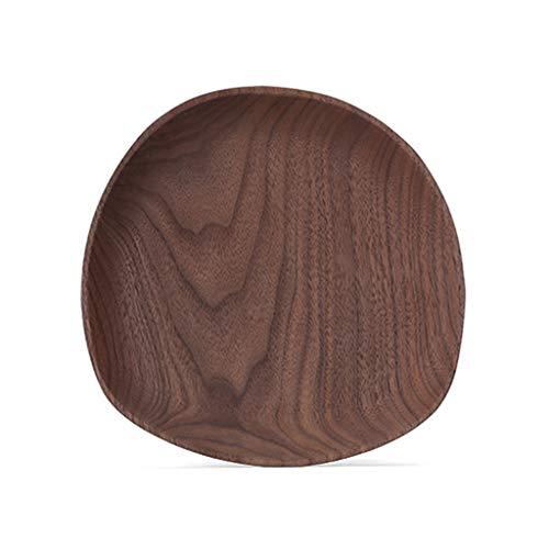 Bandeja Bandeja de madera natural, moderna y creativa sala de estar, mesa de centro, café en casa, estera for taza, bandeja de sushi de frutas, plato de postre, tabla de madera maciza Breakfast Platte