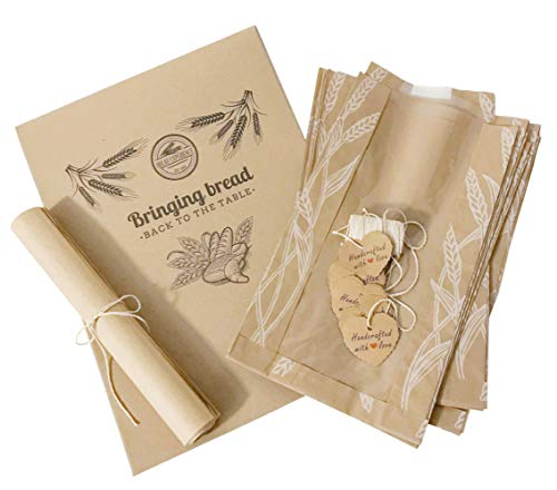 Bread Packaging Kit - Unbleached Parchment Paper Sheets Wheat Design Paper Bread Bags for Homemade Bread Heart-Shaped Kraft Paper Gift Tags 100% Cotton Bakers Twine Gift Wrapping String -White Pack