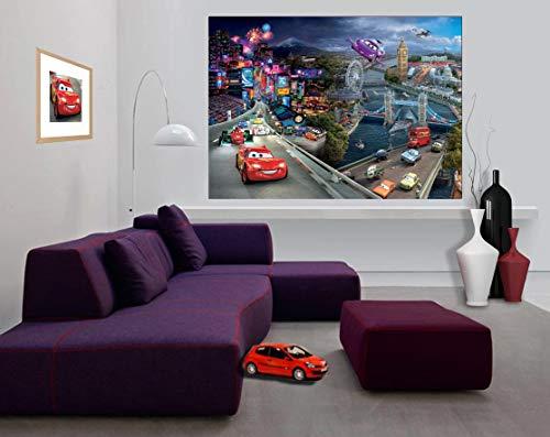 AG Design FTDm 0703 Disney Cars, Papier Fototapete Kinderzimmer- 160x115 cm - 1 Teil, Papier, multicolor, 0,1 x 160 x 115 cm