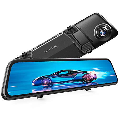 """VanTop H612 12"""" 2.5K Mirror Dash Cam for Cars w/Voice Control, GPS Tracking, IPS Full Touch Screen, Waterproof Backup Rear View Camera, Loop Recording, Night Vision, Parking Monitor"""
