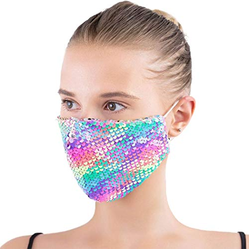 Barode Bling Sequins Mask Masquerade Reusable Face Cover Masks Halloween Clubwear Party Nightclub Face Masks Jewelry for Women and Girls (Rainbow)