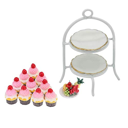 CESULIS Sostenedor del soporte de Mini Cake Con plato de porcelana y Plato de frutas Conjunto de la torta Alimento for 1/12 Casa de muñecas en miniatura Cocina Sala de ornamento Exhibición de Frutas