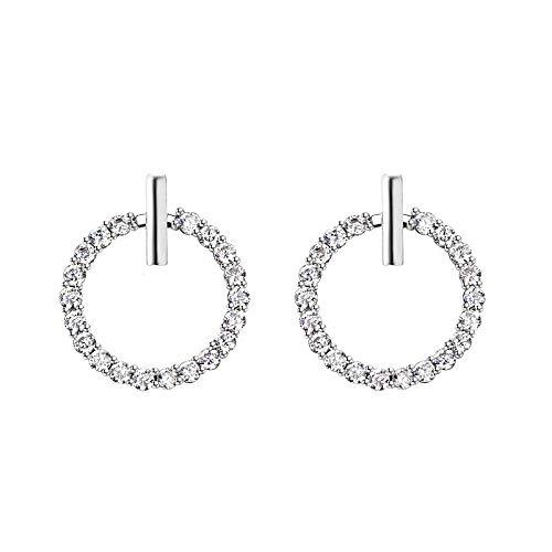 YIJTE Arete Fashion 925 Sterling Silver Crystal Rhinestone geométrico Redondo Pendientes para Mujeres Hermosas Lujo (Gem Color : E04 A)
