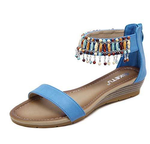 Sandali da Donna, Perline Pendenti più Scarpe da Donna con Tacco A Zeppa, Sandali Etnici retrò 35-42,Blu,39