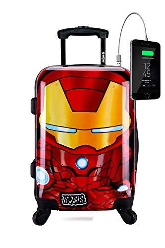 TOKYOTO - Maleta de Cabina Infantil Niños Equipaje de Mano Iron Boy, con Cargador USB, 8000mAh, 55x40x20 cm | Maleta Juvenil, Trolley de Viaje Ryanair, Easyjet | Maleta de Viaje Rígida
