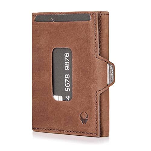 DONBOLSO® Wallet XS Kartenetui mit Münzfach - EC-Karten- & Slim Wallet mit RFID-Schutz - Leder Geldbörse für Herren & Damen - Mini Portemonnaie (Braun Vintage, mit Münzfach)