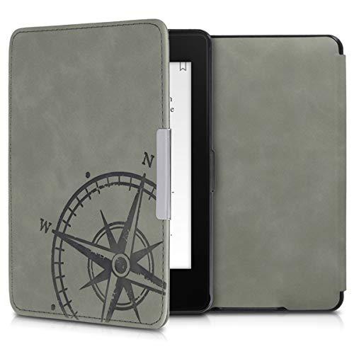 kwmobile Funda Compatible con Amazon Kindle Paperwhite - Carcasa para e-Reader de Piel sintética Nobuck - Aguja magnética Gris