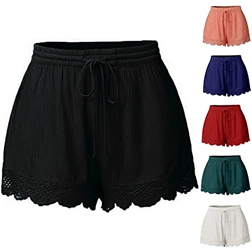 Shorts for Womens Summer Elastic High Waist Solid Color Casual Shorts Fashion Lace Tie Loose Yoga Sport Pants Black