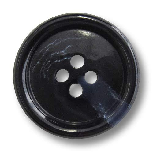 Knopfparadies - 5 Stück herbstliche Mantelknöpfe aus Kunststoff, dunkelblau & schwarz marmoriert mit Vier Löchern und gewölbtem Rand. Durchmesser: ca. 25mm!