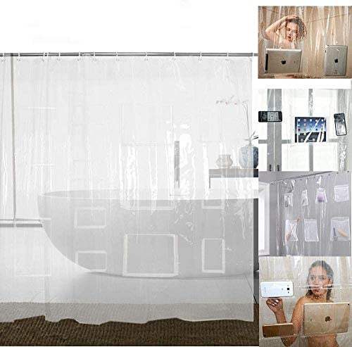 Waterproof Clear Shower Curtain Liner with 12 Pockets for Tablets Pads PEVA Vinyl Curtains Bathroom product image