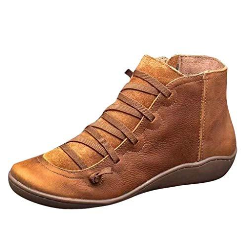 Yowablo Stiefel Damen Lässige Flache Retro-Schnürstiefel aus Leder mit seitlichem Reißverschluss und runder Schuhspitze (39 EU,3- Braun)
