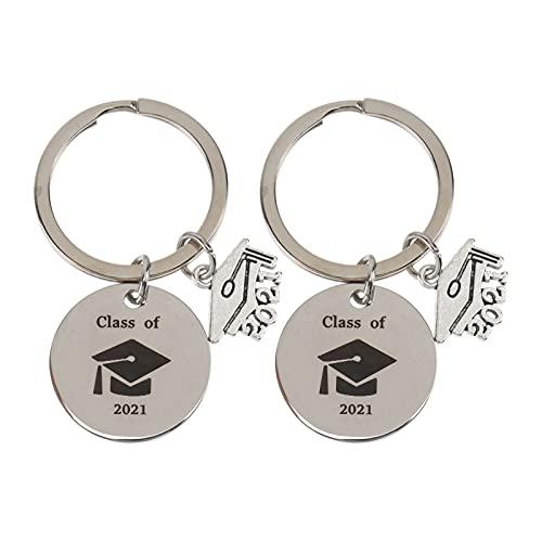 Generic 2Pcs Tampão Da Graduação Graduação Chaveiros Classe de 2021 Chaveiro de Aço Inoxidável Chaveiro Presentes Graduados de Inspiração para Ela Lhe Melhor Amigos