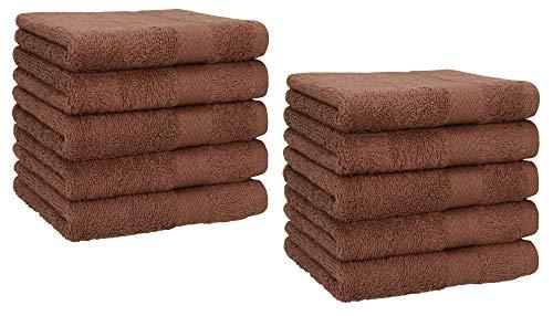 Betz 10 Toallas de Cara 30x30cm Premium 100% algodón Color marrón