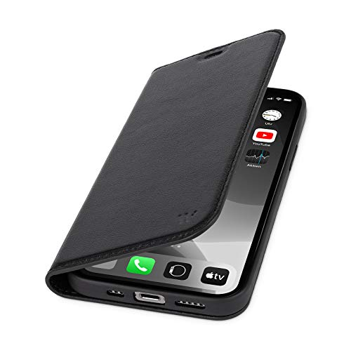 WIIUKA Hülle für iPhone 12 Mini, Lederhülle mit Kartenfach, extra Dünn, Premium Leder, Handyhülle mit Standfunktion, Tasche Schwarz