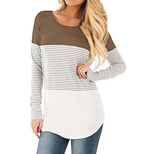 MORCHAN Femmes Casual Manches Longues à Rayures Patchwork Stretchy Tops Blouse T-Shirt (FR-44/CN-XL, Kaki)