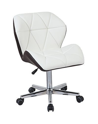 HNNHOME® Modern Uranus Padded Swivel Faux Leather Home Office Desk Computer Chair, Height Adjustable Mixed Color (White/Grey)