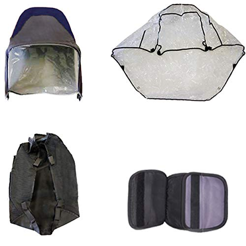 Excel Elise - Pack de accesorios de viaje para cochecito de bebé, parasol y cubierta de lluvia, cesta para el pecho para cochecito Excel Elise, color azul