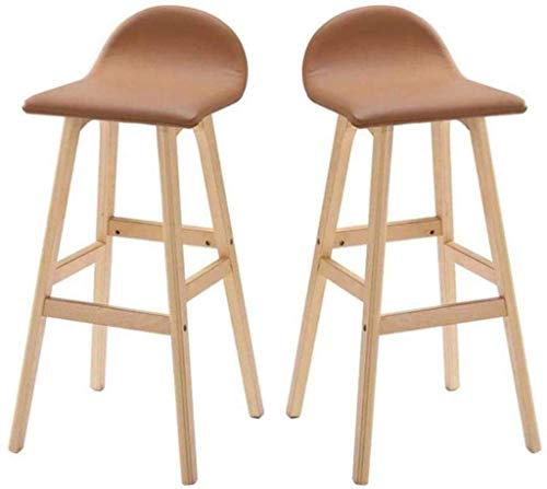 N/Z Daily Equipment Stools Set of 2 Solid Wood High Simple Style Kitchen Restaurant Pu Cushion Wooden Legs with Back Barstool Chair Footrest Black Leather Seat Backrest Dining Chairs