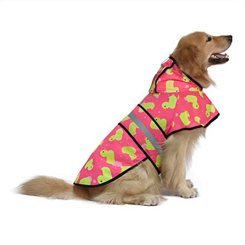 HDE Dog Raincoat Hooded Slicker Poncho for Small to X-Large Dogs and Puppies (Pink Ducks, Large)