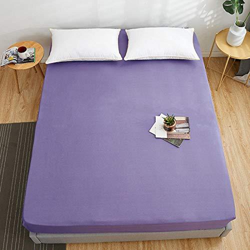 FJMLAY Sábanas ajustablesExtra Suave,Sábanas Ajustables de Cama de algodón de Color sólido Dormitorio Hotel Cubierta Doble Individual-Purple_3_180 * 200cm